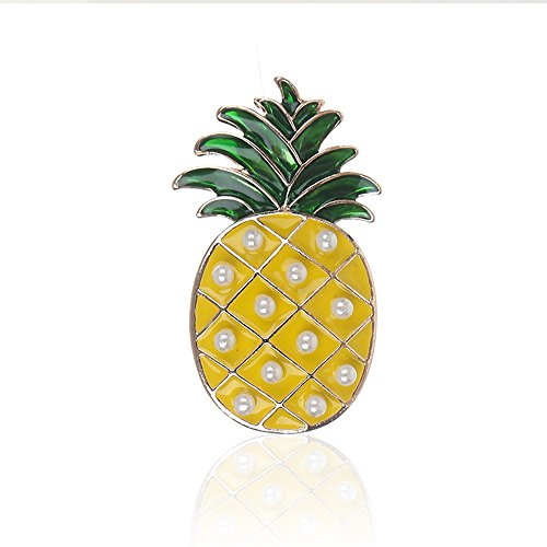 WLL Cute Yellow Enamel Fruit Pineapple Brooch Pin Charm Pearl Accessories Jewelry (Rose Gold)
