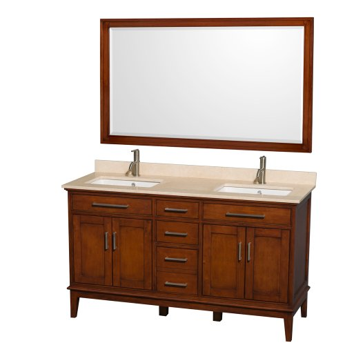 Wyndham Collection Hatton 60 inch Double Bathroom Vanity in Light Chestnut, Ivory Marble Countertop, Undermount Square Sinks, and 56 inch Mirror (Ivory Bathroom Vanity)