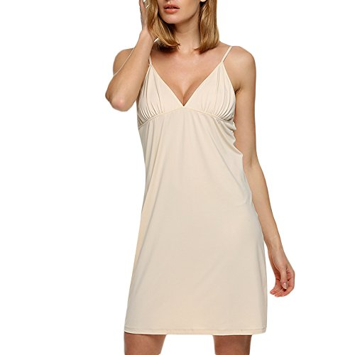 Celltronic Women's Nightshirts Sexy Chemise Slip Nightgown(Nude,M)