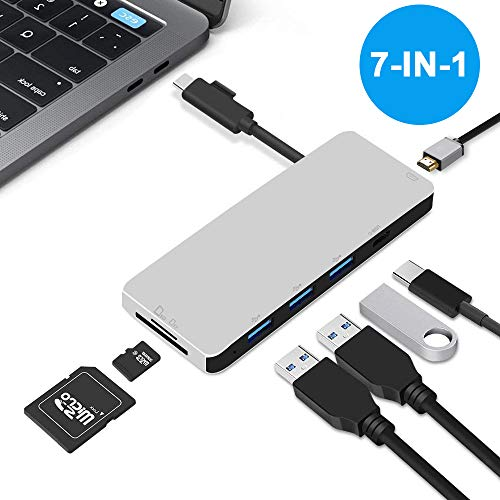 Multi-Port USB C Hub Type C Adapter, Neefeaer USB C to HDMI Adapter Thunderbolt 3 Hub with 4K HDMI, 3 USB 3.0 Ports, SD TF Card Reader, Type C Charging Port for MacBook, Chromebook and USB C Laptops