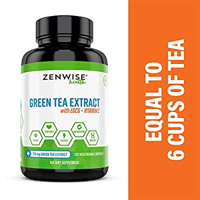 Vegan Green Tea Extract with EGCG & Vitamin C - Antioxidant & Immune Supplement - Metabolism & Thermogenesis Booster for Weight Support - for Skin & Heart Health + Brain & Memory Boost