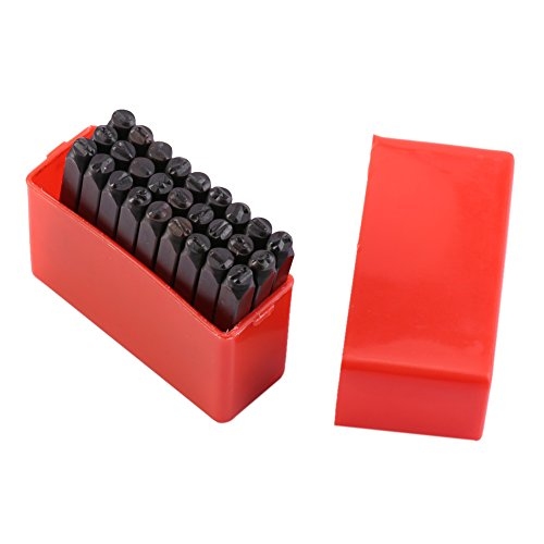 Yosoo Number and Letter Stamp Set 4 mm Craft Steel Metal Leather Punch Stamps Stamper (36 Piece Set/A-Z and 0-9)