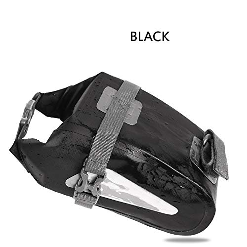 Glumes Bicycle Saddle Bag Waterproof by Small Under Seat Pack for Road and MTB Bikes - Holds All Your Essential Cycling Accessories (Black)