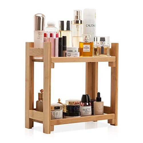 GOBAM Cosmetic Organizer and Storage Shelf Multi-Function Large Makeup Organizer Holder Assemble Easily for Mom or Wife, Natural Bamboo