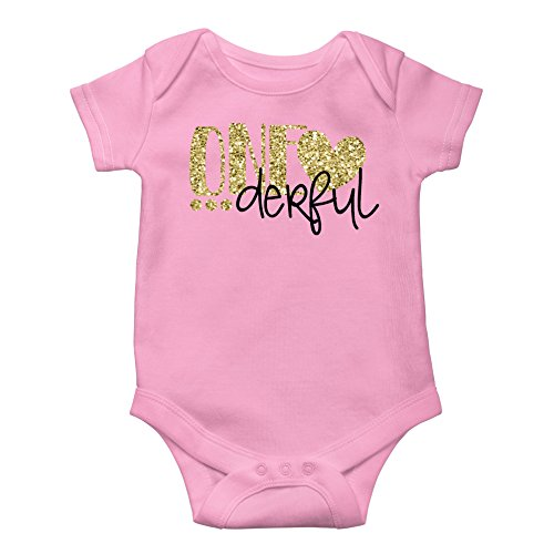 Girls One-Derful 1st Birthday Bodysuit Glitter Gold Baby Outfit for 1st Birthday