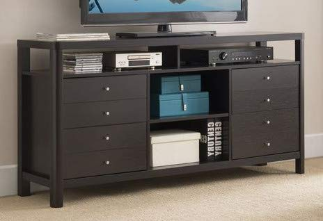 Amazon Com 65 Inch Tv Stand Cappuccino Wood Contemporary With
