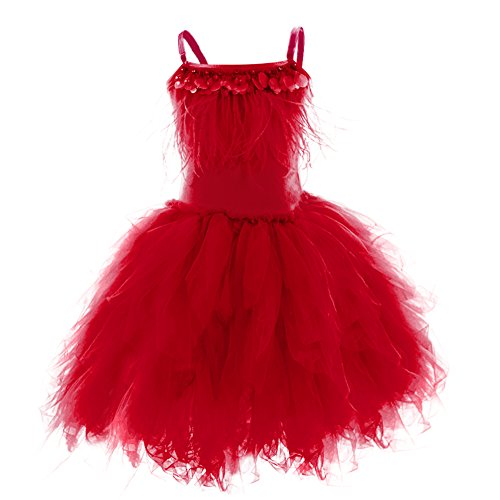 Toddler Kid Girls Swan Princess Feather Fringes Tutu Dress Pageant Party Wedding Dance Formal Birthday Short Tiered Gown Red 6-7 -
