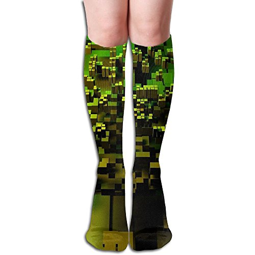 Tube High Keen Sock Boots Crew Cool Green Pattern Compression Socks Long Sport Stockings by Curitis