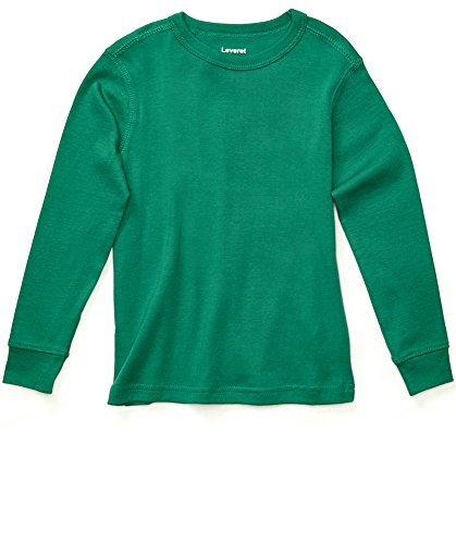 Leveret Long Sleeve Solid T-Shirt 100% Cotton (10 Years, Green)
