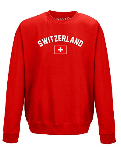 Fan Adult Sweatshirt - Switzerland Fan, Adults Printed Sweatshirt - Red L