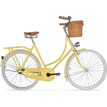 Dutch Town Bicycle - Men's/Women's - White tyres and basket - Yellow