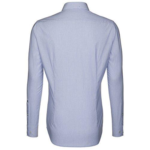 Seidensticker Herren Langarm Hemd Schwarze Rose Slim Fit blau / weiß gestreift mit Patch 240226.12