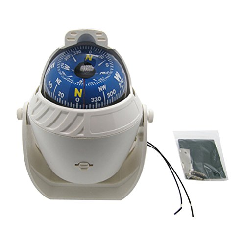 Odowalker White LED Light Illuminated Marine Compass Suitable for Car Boat and Truck Black White (White) (Marine Boat Compass)