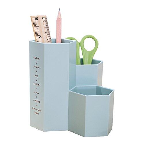 YOSCO Polystyrene Desk Pencil Holder Pen Cup Desktop Stationery Supplies Organizer Caddy (Blue)