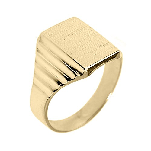 Men's Bold 10k Yellow Gold Engravable Rectangular Top Layered Band Signet Ring (Size 8)