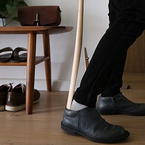軽量 長い柄のメープルシューホーン23インチの靴リフターエキスパンダ用メンズ・レディース・キッズシニア 耐用 (Color : Wood, Size : 4.5x4.5x60cm)