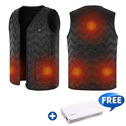 Washable Heated Vest with Power Bank, Size Adjustable, 5 Heating Panels Black