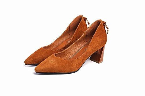 de DIDIDD Grueso 35 Zapatos de con Alto Redonda Hebilla Tacón Temperamento Mujer de nbsp;Segundo Zapatos Puntiagudos con RTFfTx