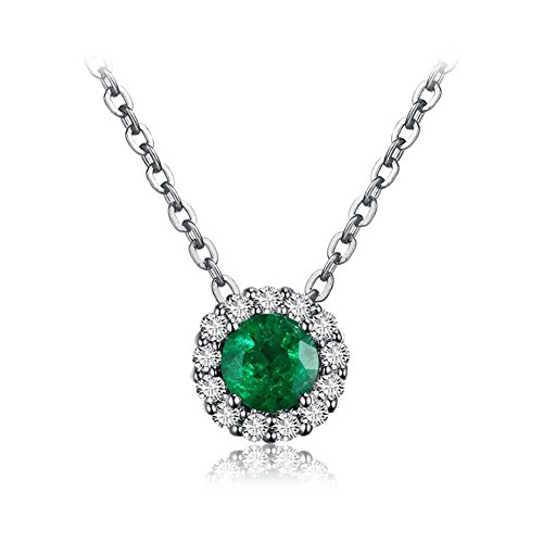OMZBM Natural Emerald Gemstone Necklace 18K White Gold Circular Colored Stone Diamond Dangle Necklace for Women and Girl