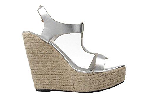 ANDRES MACHADO - Damen Keil-Sandaletten - Silber Schuhe in Übergrößen