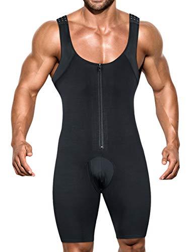 NonEcho Men Shapewear Tummy Control Full Body Shaper Slimming Bodysuit Plus Size (Black(Zipper), Small)
