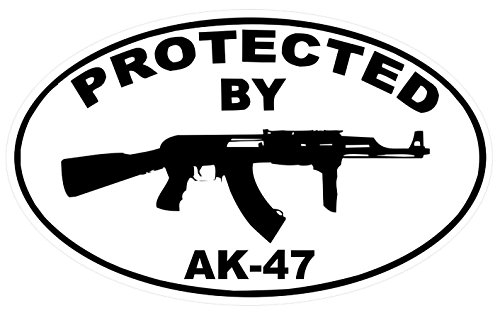 1-Pc Persuasive Unique Protected by AR-47 Sticker Signs Rifle Surveillance Home Trespassing Alert Outdoor Lawn Pole Fence Property Yard Reflective Side Door Window Premises Hour Tools Size 3.5