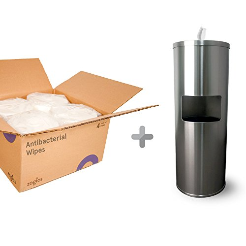 Zogics Antibacterial Wipes (4 Rolls/Case) + Stainless Steel Gym Wipes Floor Dispenser with Door by Zogics (Image #8)