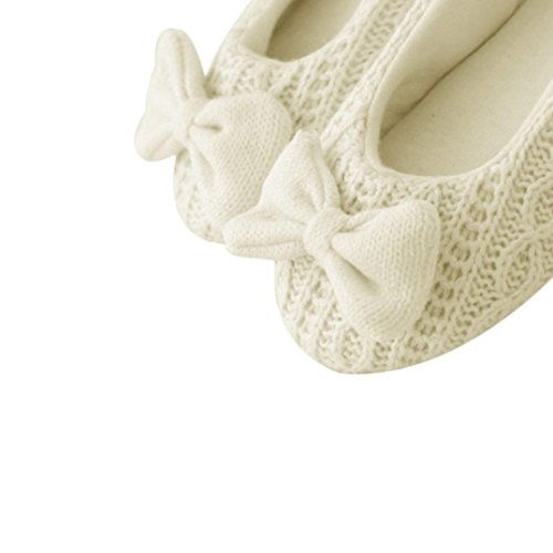 US Cashmere Warm Shoes Floor Women Yoga Slippers white Ladies Bowknot Ballerina Home 7 6 Sagton 5 wqa4PxTx