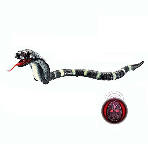 "Upgraded Remote Control Cobra Snake 17"" Long Rechargeable Simulation RC Snake Toy for Kids Children By Rely2016 (Black)"