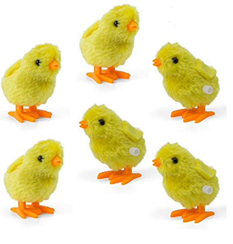 Wind-Up Novelty Jumping Chicken – Party Favor Gag Toy – Easter Egg Baby Bird Yellow Chick Decoration – Pack Of 6
