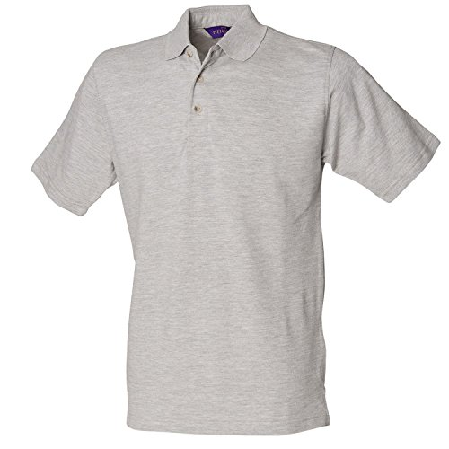 Henbury Klassisches schwere Pique Polo Shirt H100Heather Grey XXXL