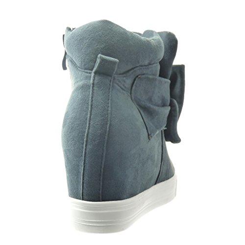 de 7 CM de Zapatillas zapatillas plataforma Moda Plataforma Deportivos 5 mujer Angkorly Talón pajarita Plataforma Azul wYFR1qw