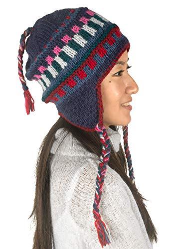 Warm Winter Wool Hat Fleece Inside Cap Hand Knit Woven Ear Flaps Snow Cold Thick Women Merino Thinsulate Outdoor (Blue Splash)