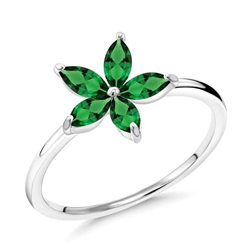 Gem Stone King 1.10 Ct Marquise Green Simulated Emerald 10K White Gold Ring (Size 6)