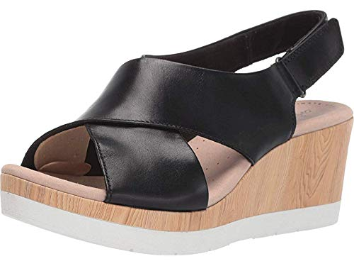 CLARKS Women's Cammy Pearl Wedge Sandal Black Leather 110 W US
