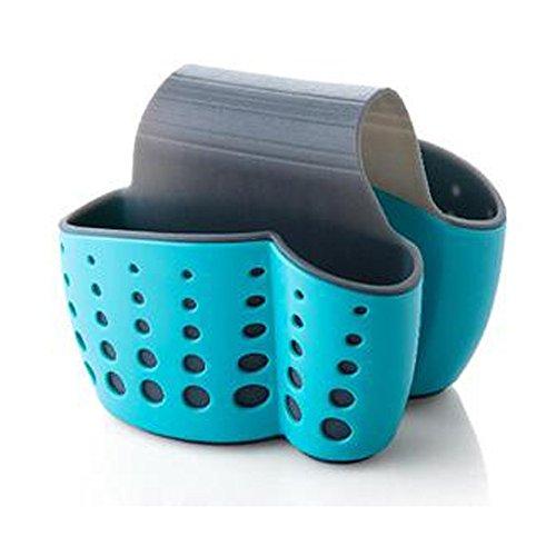 TuuTyss Draining Kitchen Saddle Sink Caddy Sponge Holder for Scrubbers,Sponges-Plastic,Blue