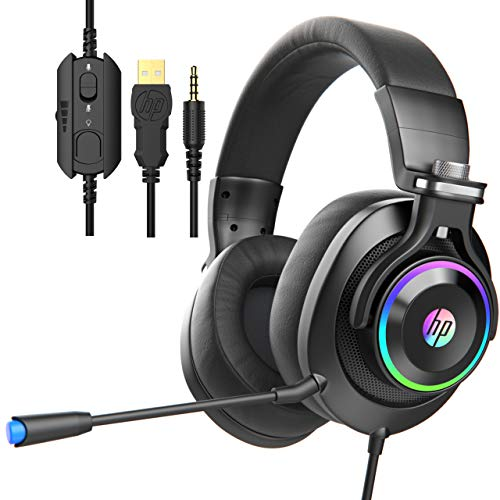 HP Wired Gaming Headphones Xbox One Headset with Surround Sound, RGB LED Lighting, Noise Isolating Over Ear Gaming…