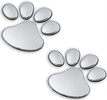 Preskin 3d Pfoten Chrom Auto Aufkleber Hundkatzen Tatzen Emblem Decal Logo Sticker Stickerpaw