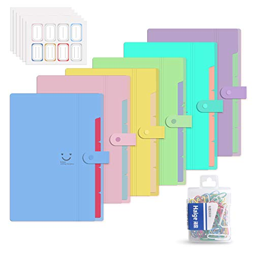 6 Pack Plastic Expanding File Folder 5 Pocket,Accordion Document Organizer,A4 Letter Size,with 80Pcs Colored Paper Clip and 48Pcs File Folder Labels for School Office Business Use ()