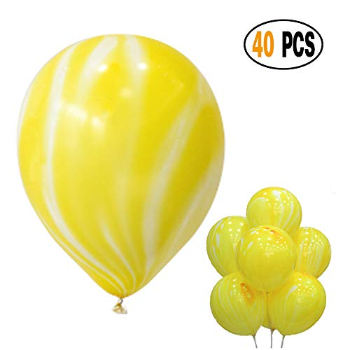 DIvine 40 Pcs/lot Yellow Agate Marble Latex Balloons,Color Marble Tie Dye Swirl Effect Balloons for Wedding Birthday Baby Showers Christmas Festival Ceremony and Party Premium Quality Decoration -