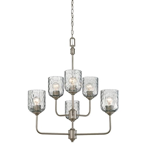 Westinghouse 6326300 Basset Six Indoor Chandelier, Dark Pewter Finish with Smoke Grey Hammered Glass, 6 Light - Pewter Chandelier