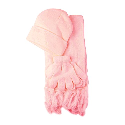 - Winter Girls Kids Age 4-9 Knit Scarf Beanie Hat Cap Glove Ski Snow Set Pink