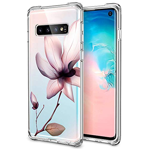 Designed for Samsung Galaxy S10 Case, oasisM Screen Protection Soft Silicone Gel Clear Cover Slim Shock Absorbing Floral Shell Anti-Scratch Premium Bumper Skin for Samsung Galaxy S10 - Purple Magnolia ()