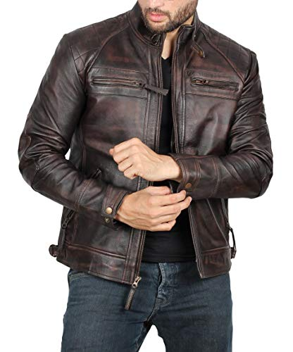 Distressed Brown Genuine Lambskin Leather Mens Jacket | Claude, XS