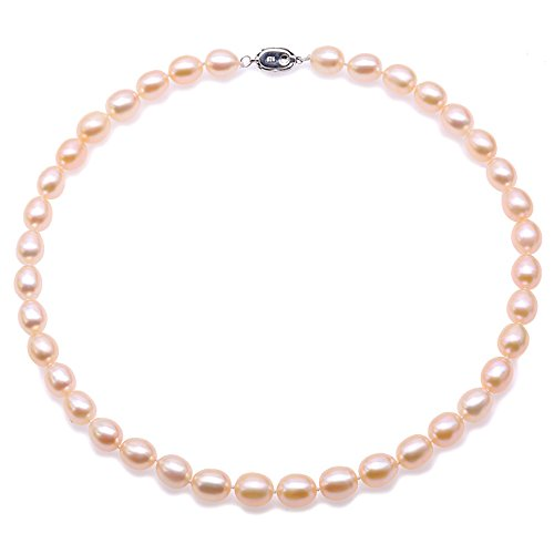 JYX 9-10mm Pink Pearl Necklace Oval Freshwater Cultured Pearl Necklace 18