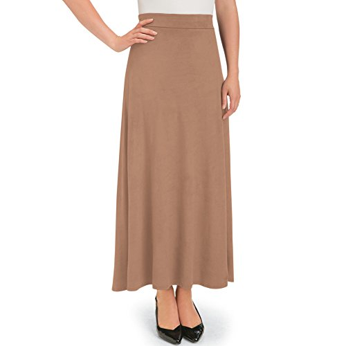 Women's Faux Suede A-Line Skirt, Camel, Medium - Made in The USA