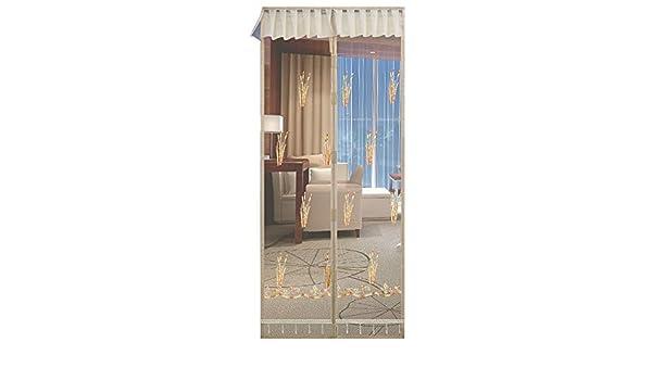 DYR Puerta magnética para mosquiteras con riel para Puertas corredizas, mosquitera Bordada con Ganchos de Deslizamiento y Cinta mágica de Color Beige 130 x 190-230 cm: Amazon.es: Hogar
