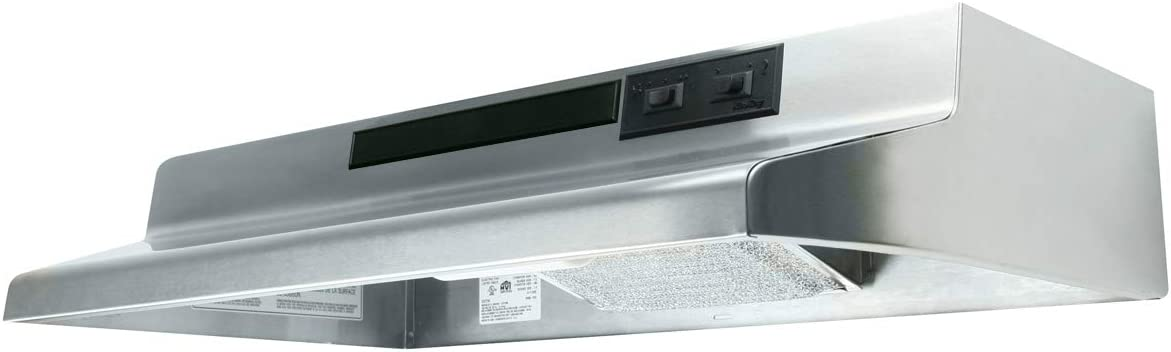 Air King AV1308 Advantage Convertible Under Cabinet Range Hood with 2-Speed Blower and 180-CFM, 7.0-Sones, 30-Inch Wide, Stainless Steel Finish