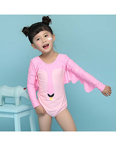 Delight Girls Swimsuits Long Sleeve Baby Girls Swimwear One Piece Clothing Pink 3-4 Years by Delight (Image #2)