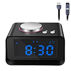 Fywonder Alarm Clock Radio, Digital FM Radio, Indoor Thermometer and Large Display with 6 Dimmer, Speaker and 2 USB Charging Ports for Iphone/Ipad/Ipod/Android Phone and Tablets